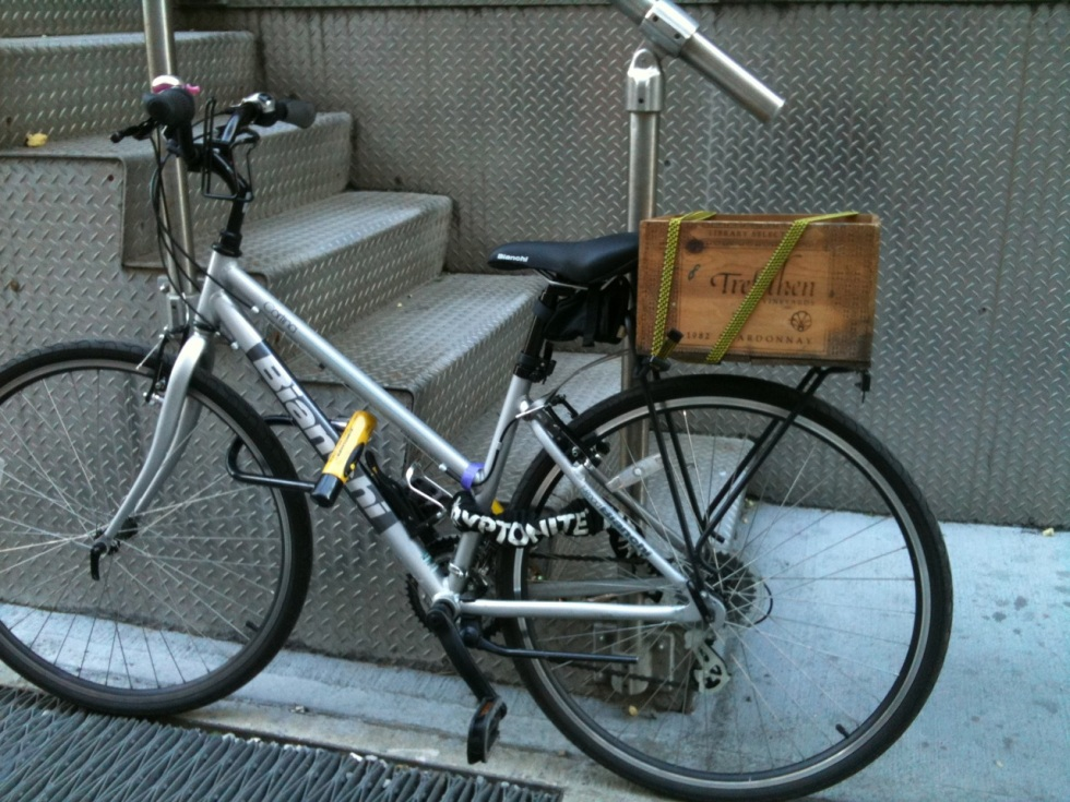 bicycle with wine case