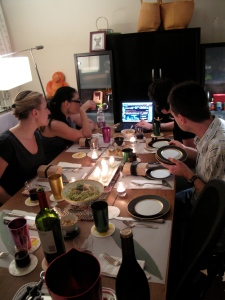 Amanda, Joe, Jess, Lisa watching the live feed