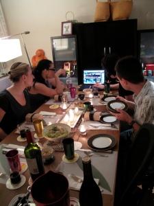 Amanda, Joe, Jess, Lisa watching the live feed